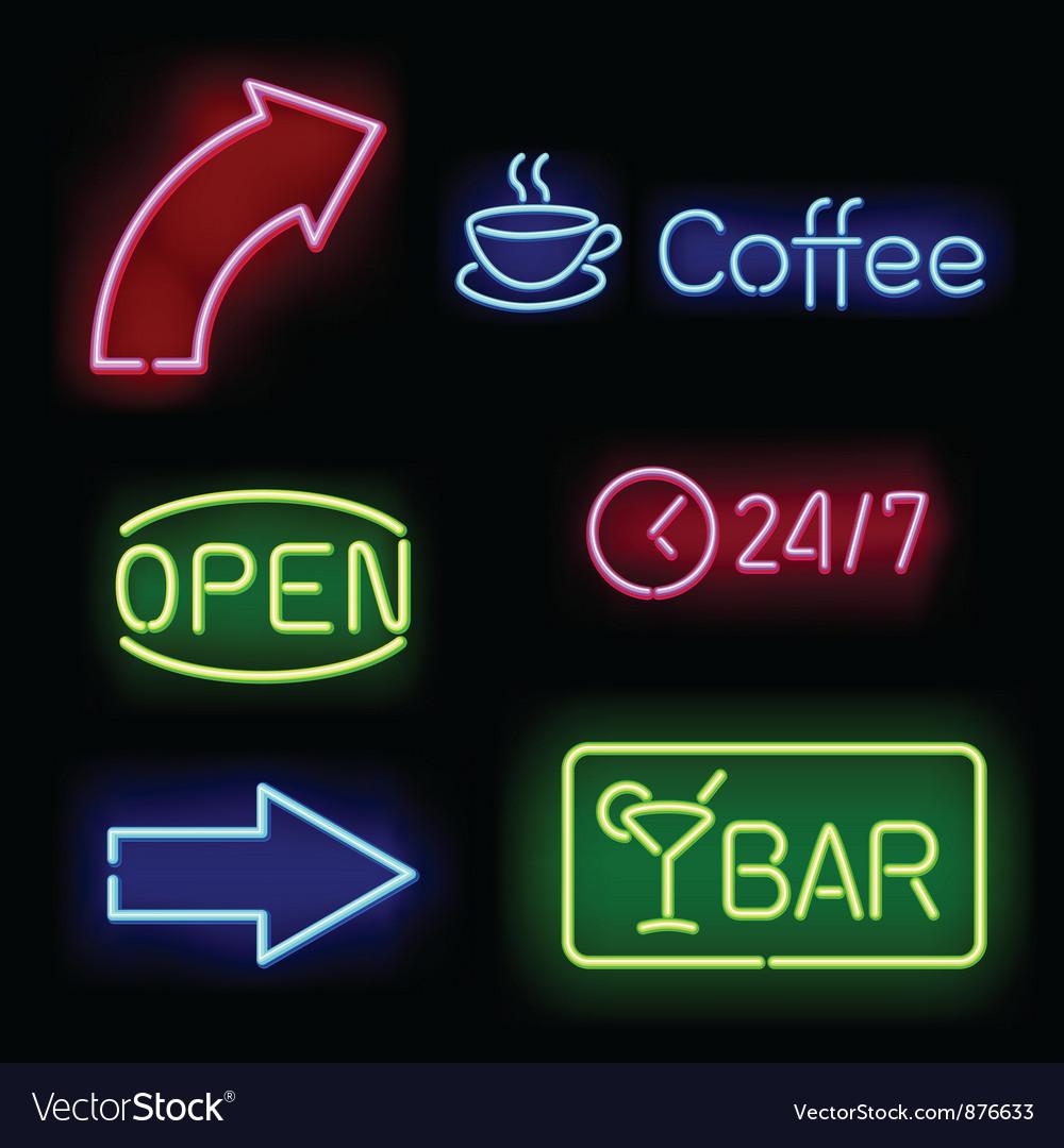Glowing neon signs vector