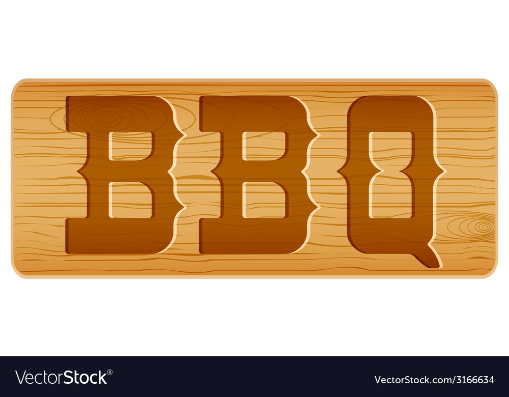 Nameplate of wood for menu with word bbq vector