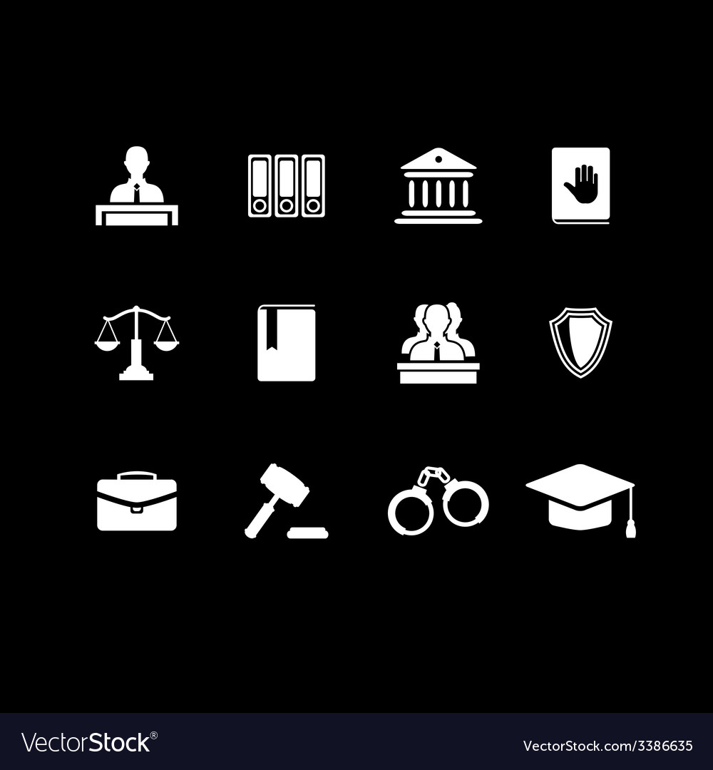 Set of black law and justice icons vector