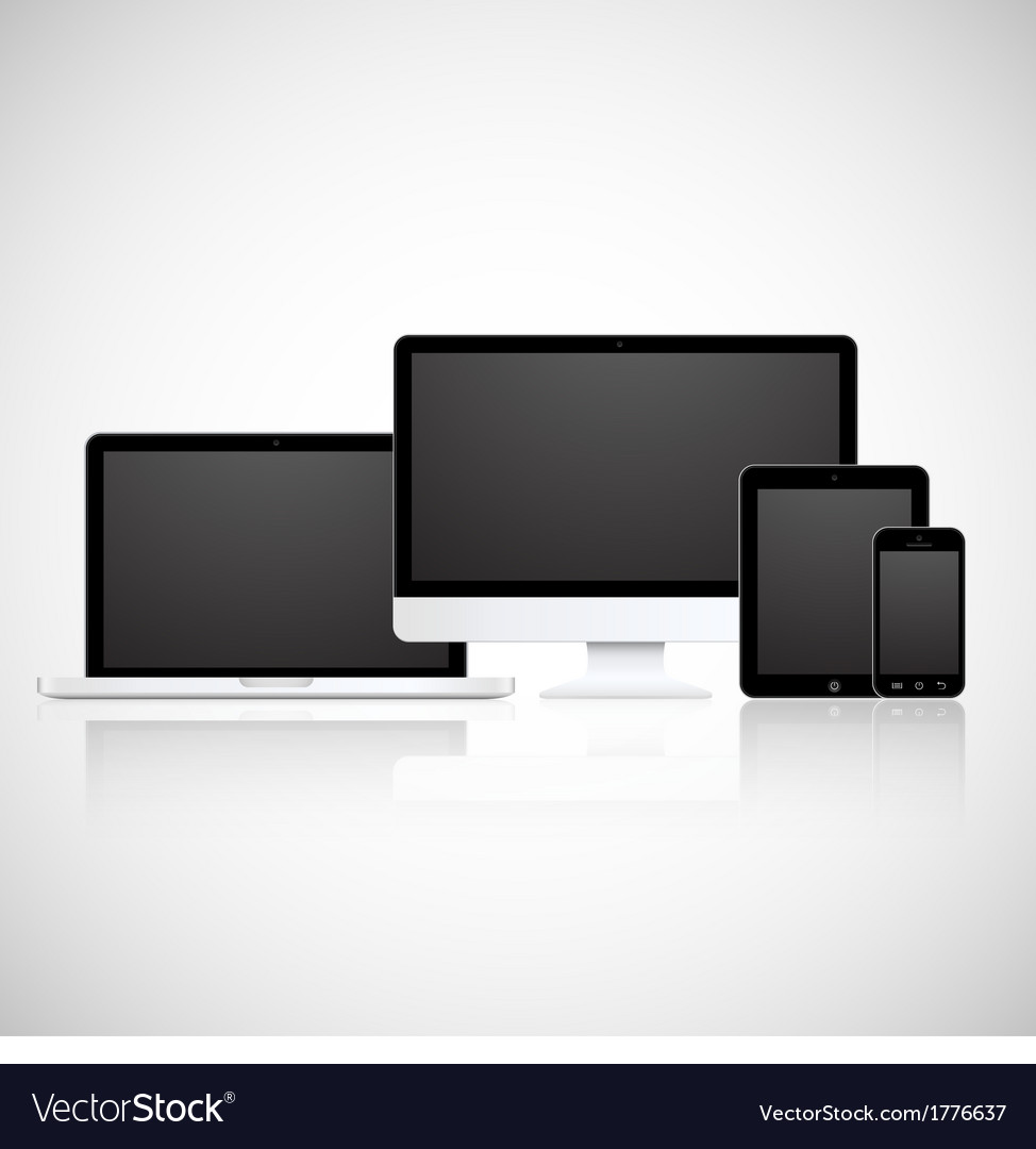 Laptop tablet monitor and phone vector