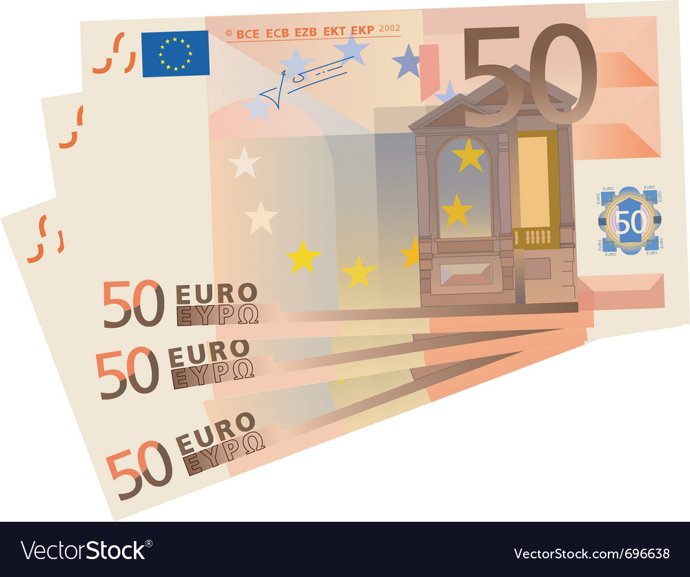 Drawing of a 3x 50 euro bills isolated vector