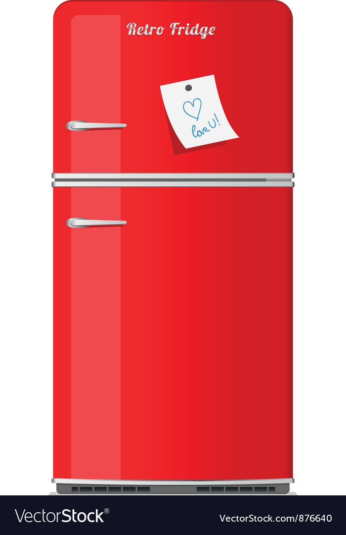 Red retro fridge with paper note vector