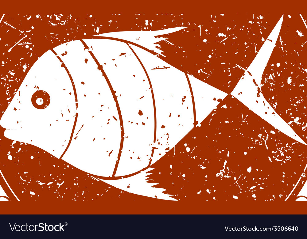 Vintage sign with fish vector