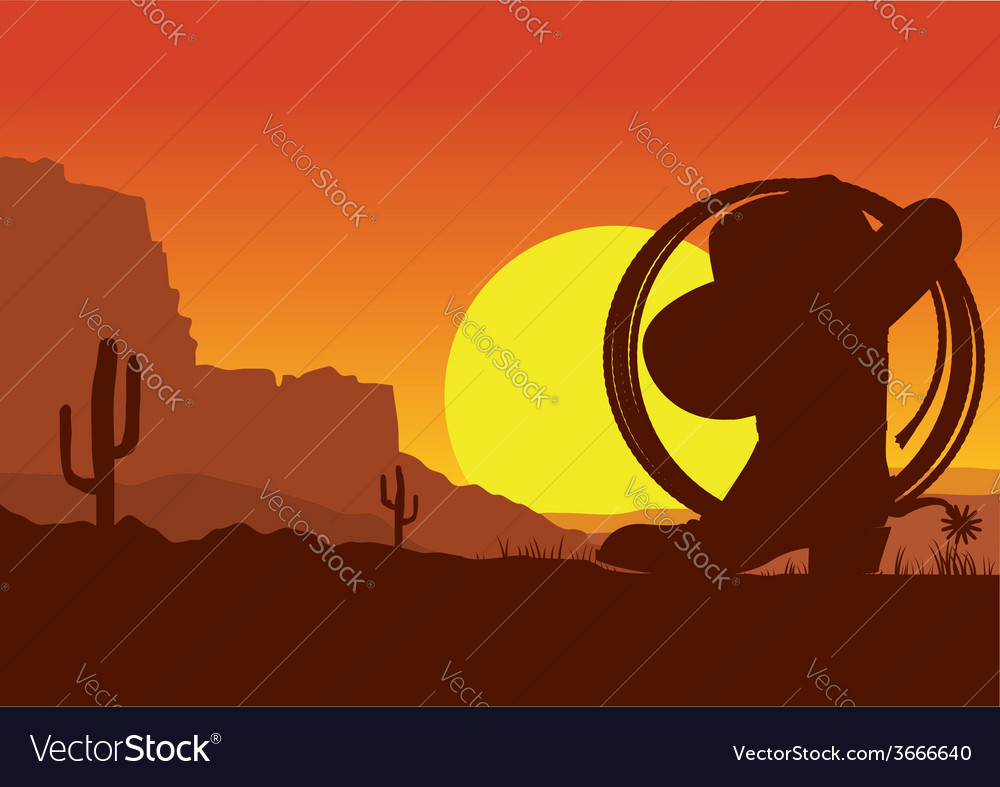 Wild west american desert landscape with cowboy vector
