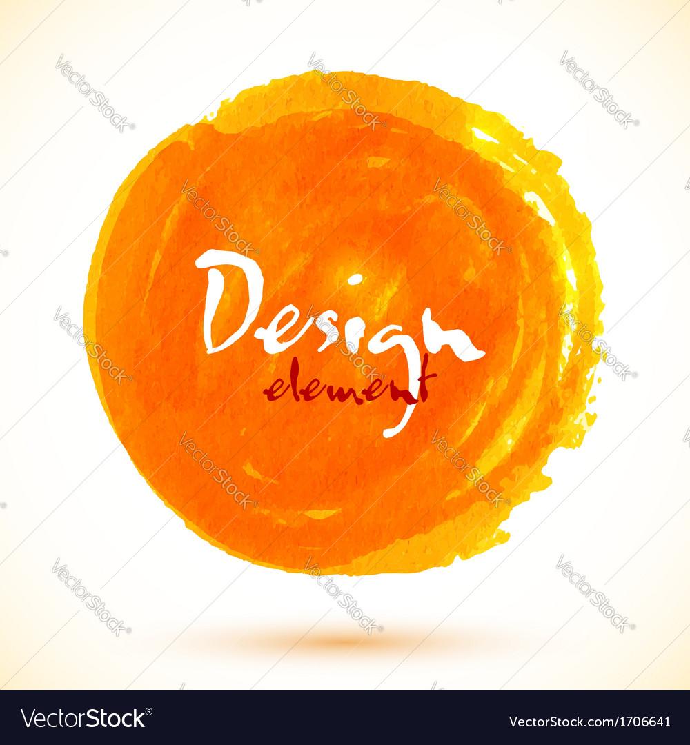 Bright orange watercolor circle vector