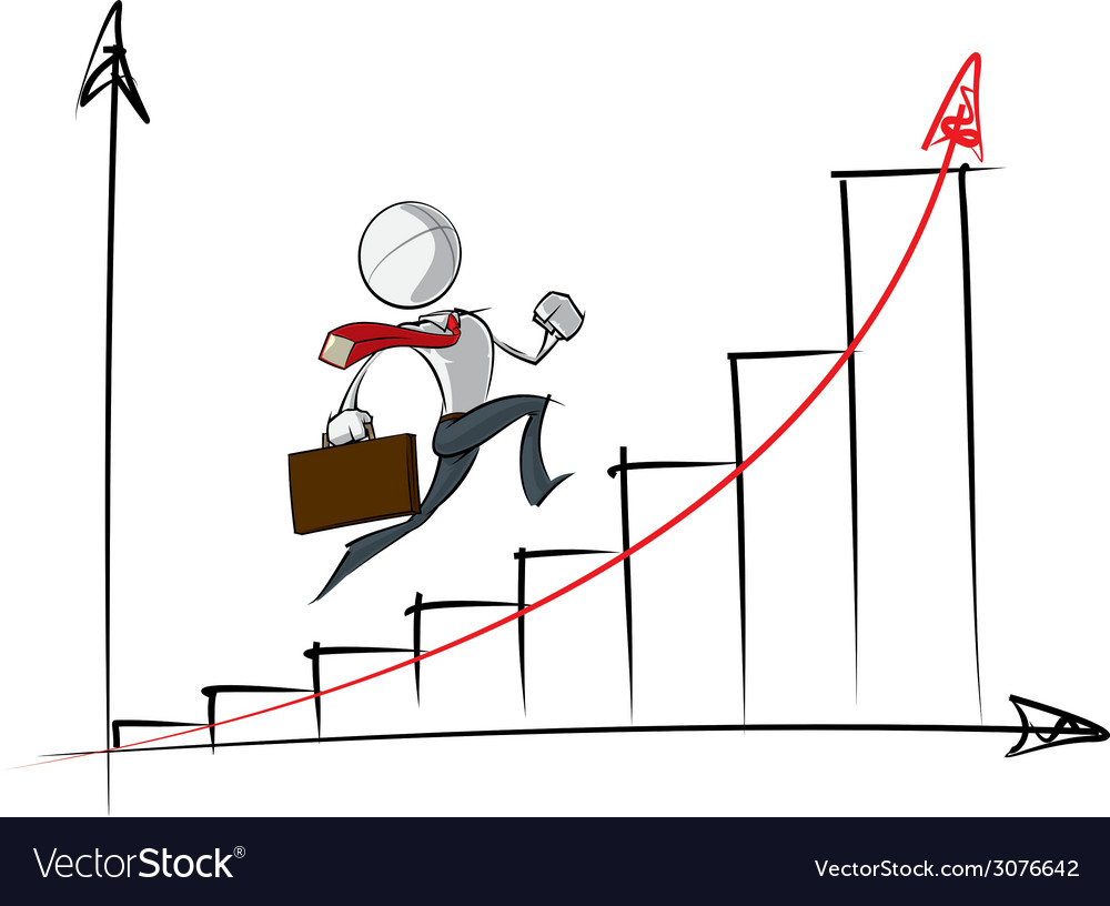 Simple business people exponential growth chart vector