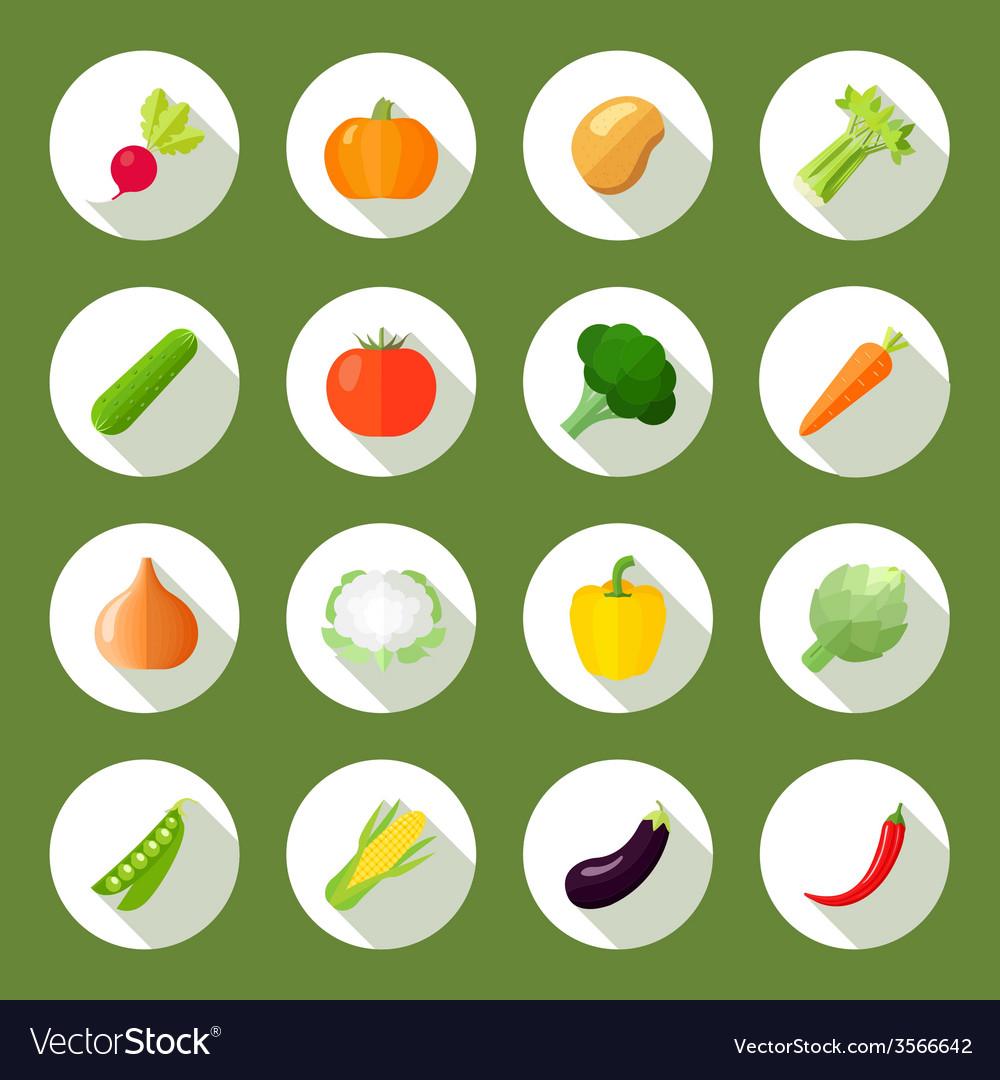 Vegetables icons flat set vector