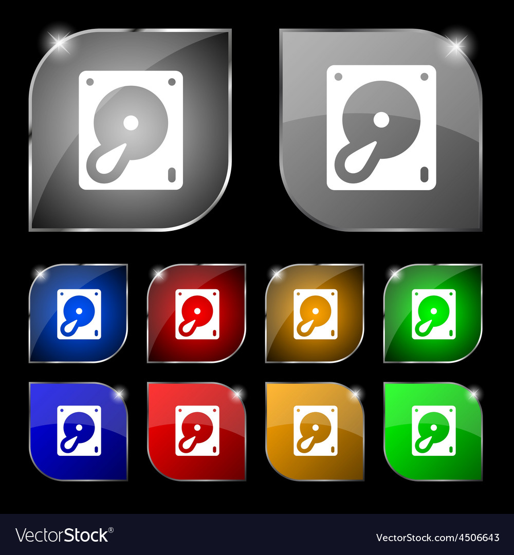 Hard disk and database icon sign set of ten vector