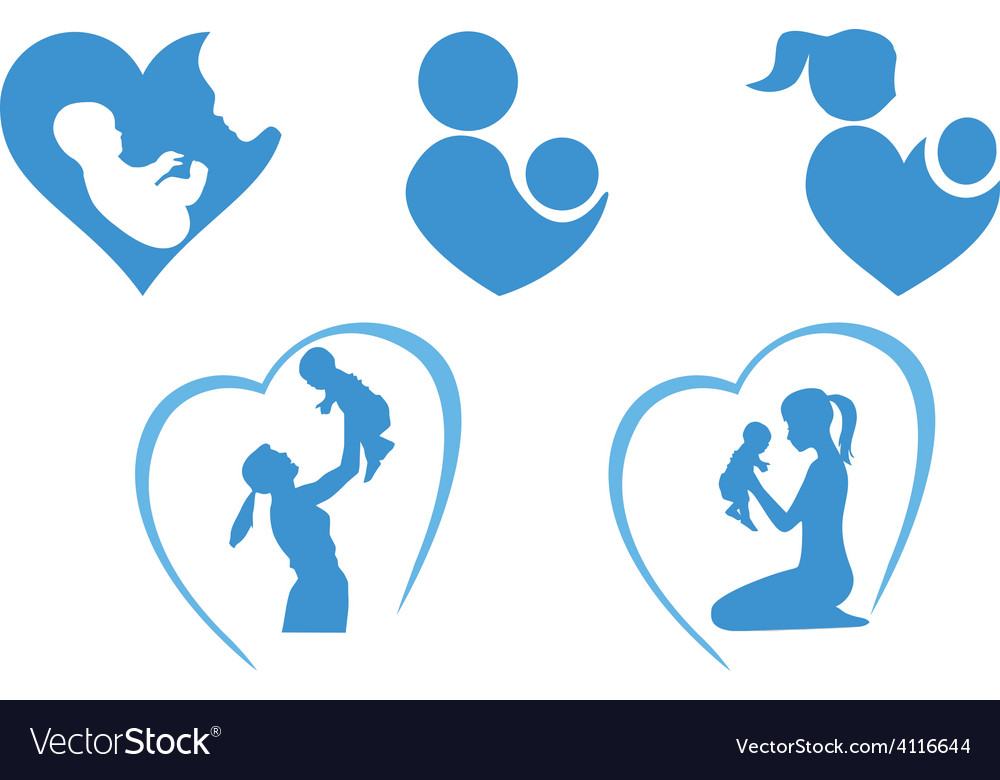 Blue mother icon vector