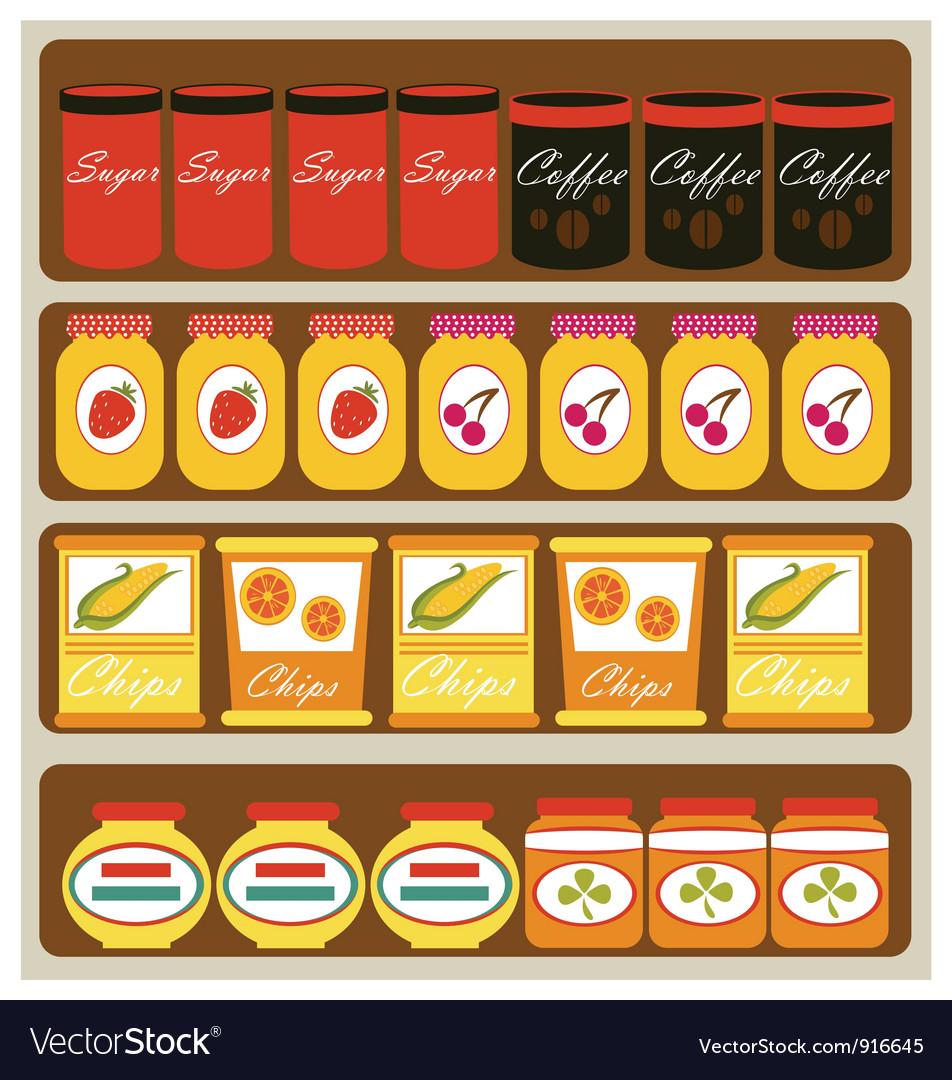 Grocery shelves vector