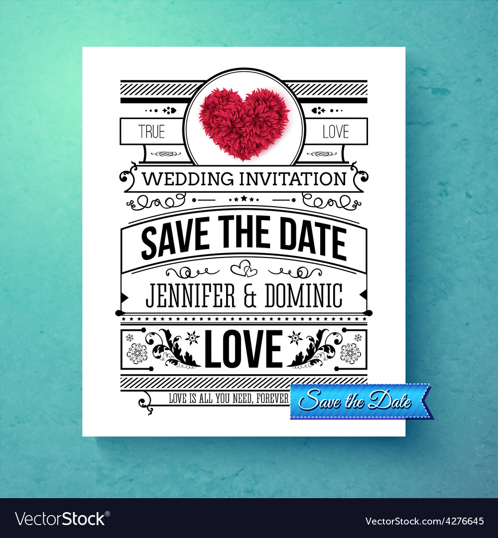 Retro stylish save the date wedding template vector