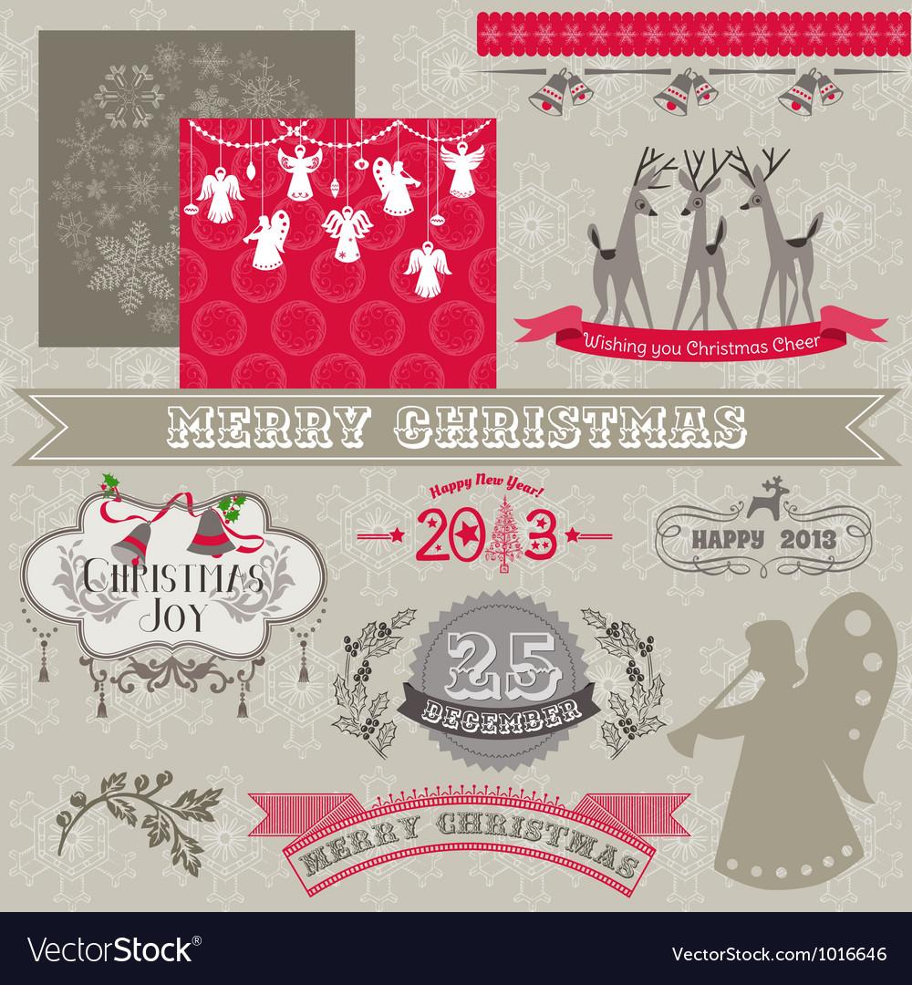 Design elements - vintage merry christmas vector
