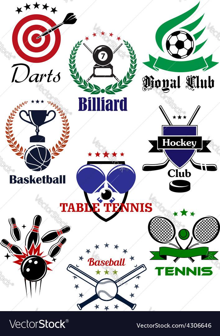Heraldic badges template for sporting games vector