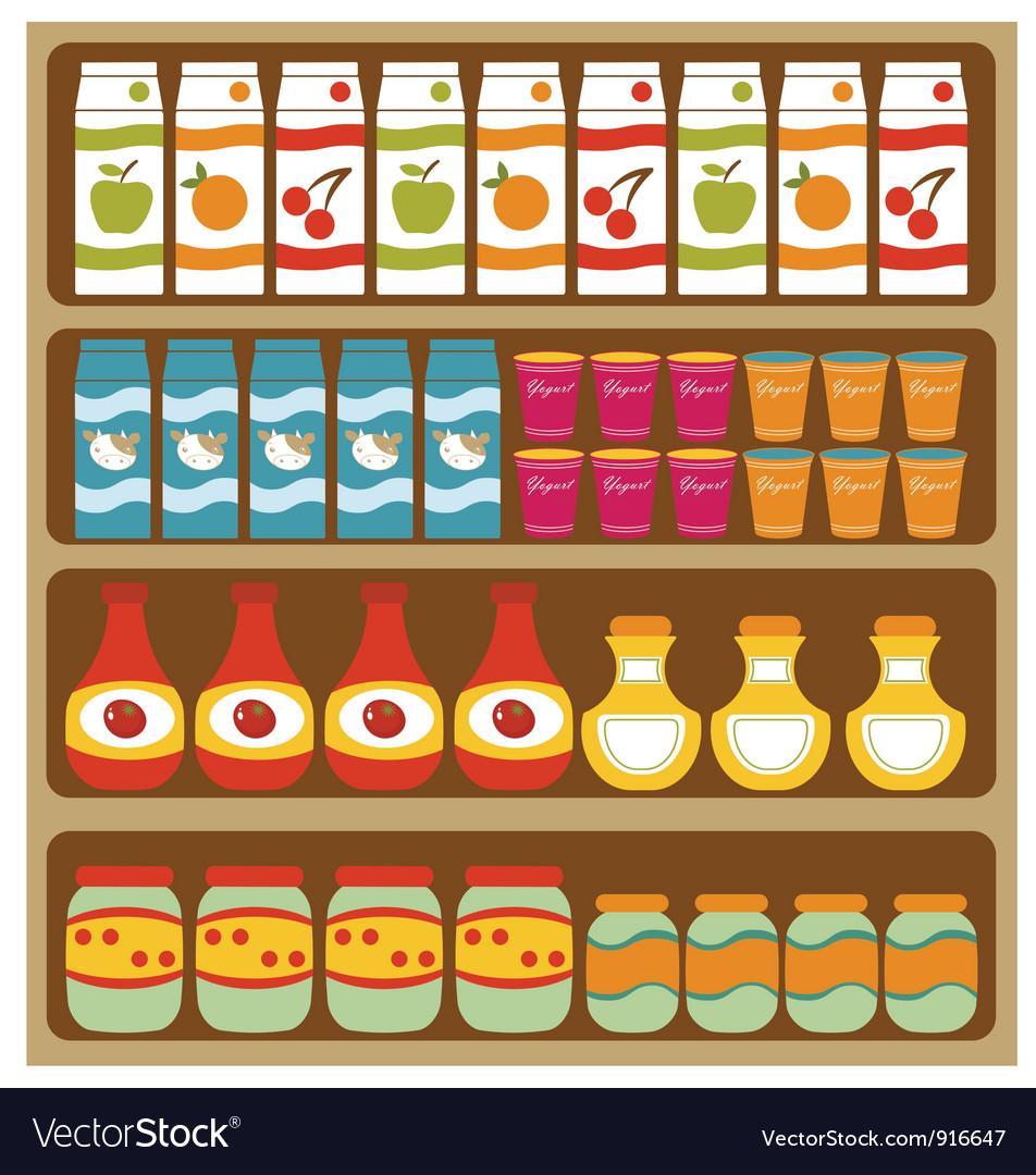 Grocery store shelves vector
