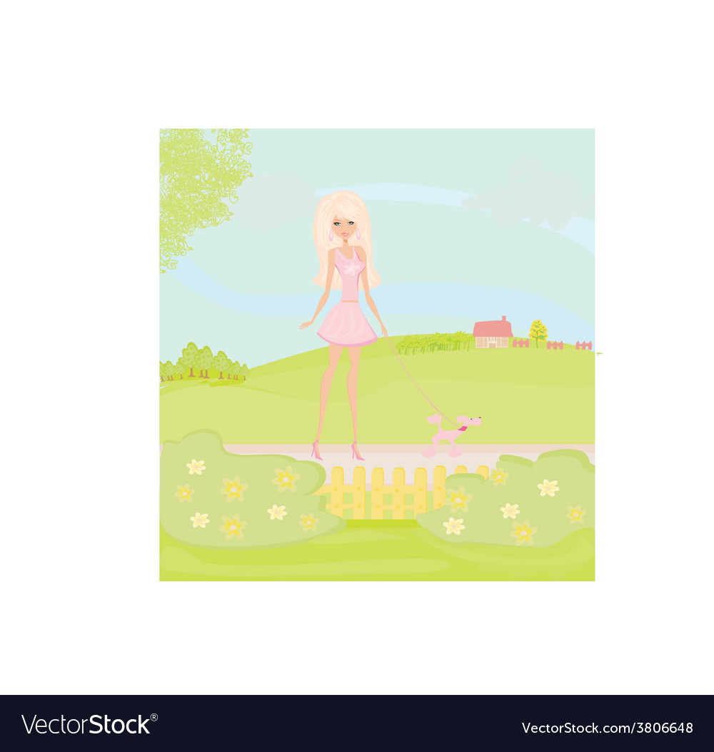 Girl and her puppy on rural landscape vector