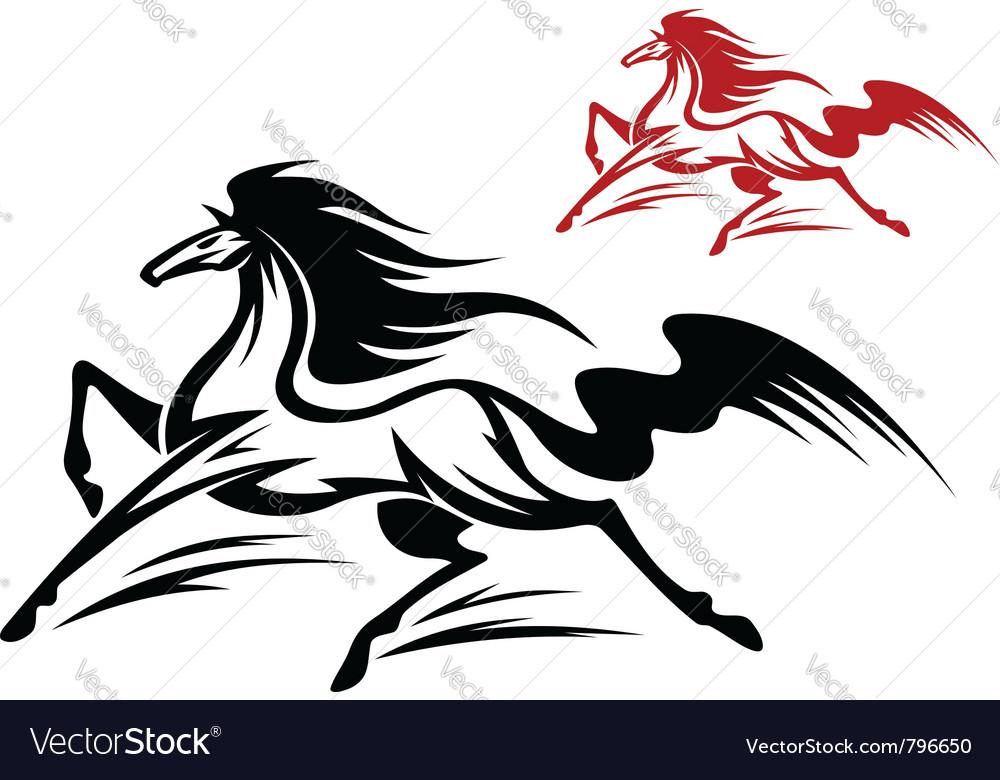 Fast running stallion vector
