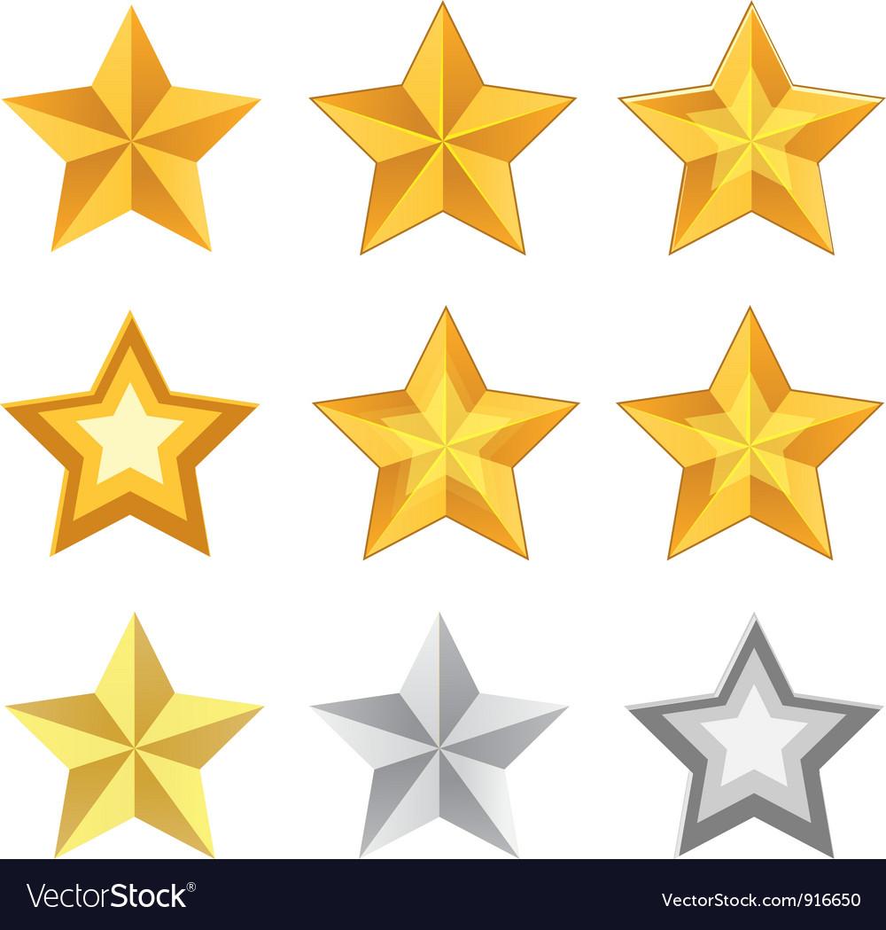 Gold star set vector