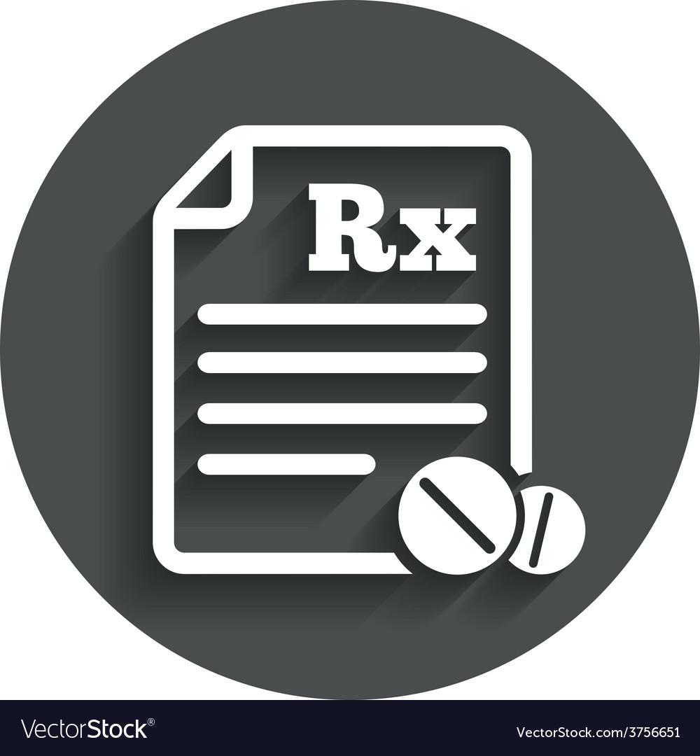 Medical prescription rx sign icon pharmacy vector