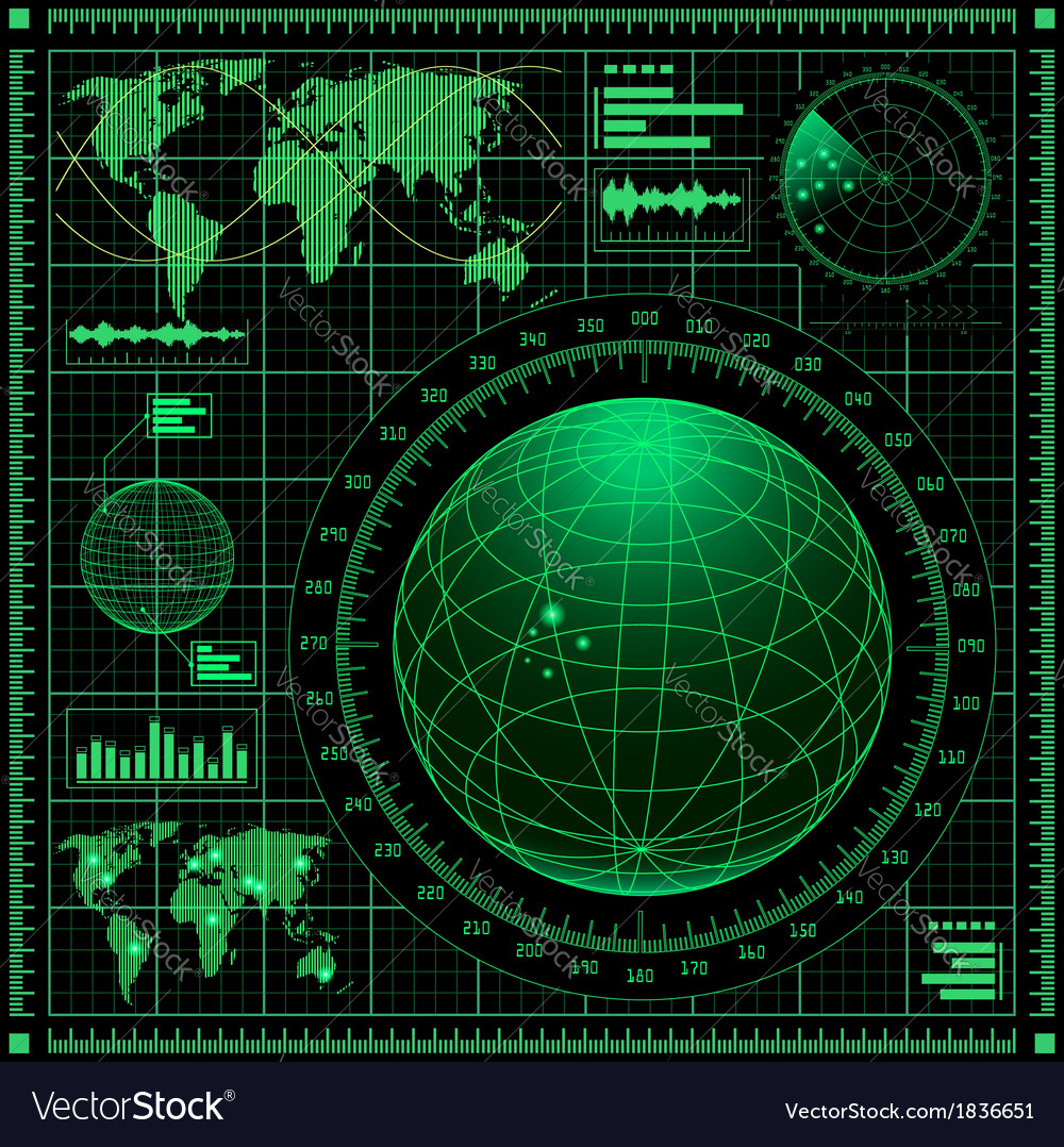 Radar screen with world map vector