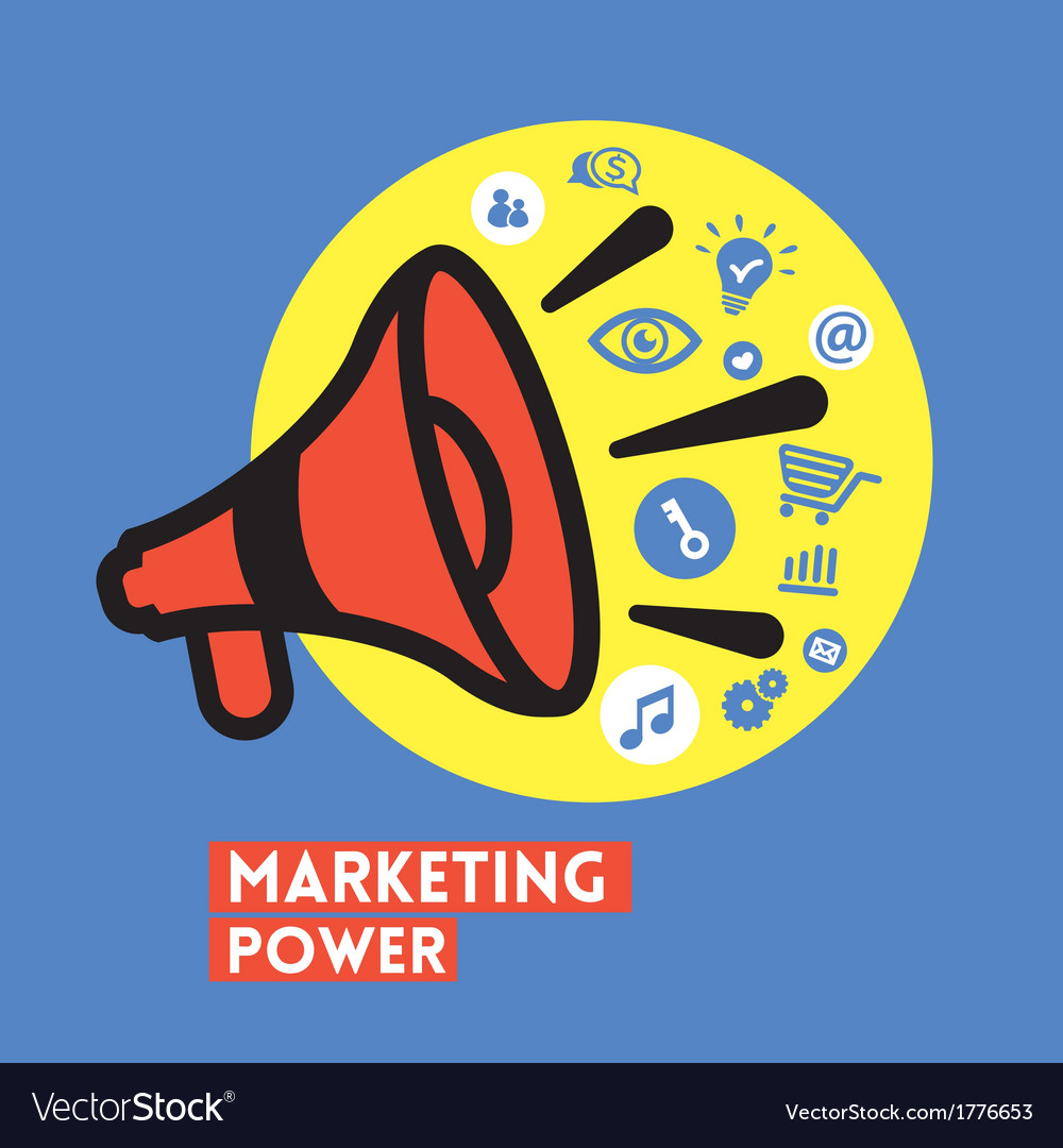 Megaphone with marketing power concept vector