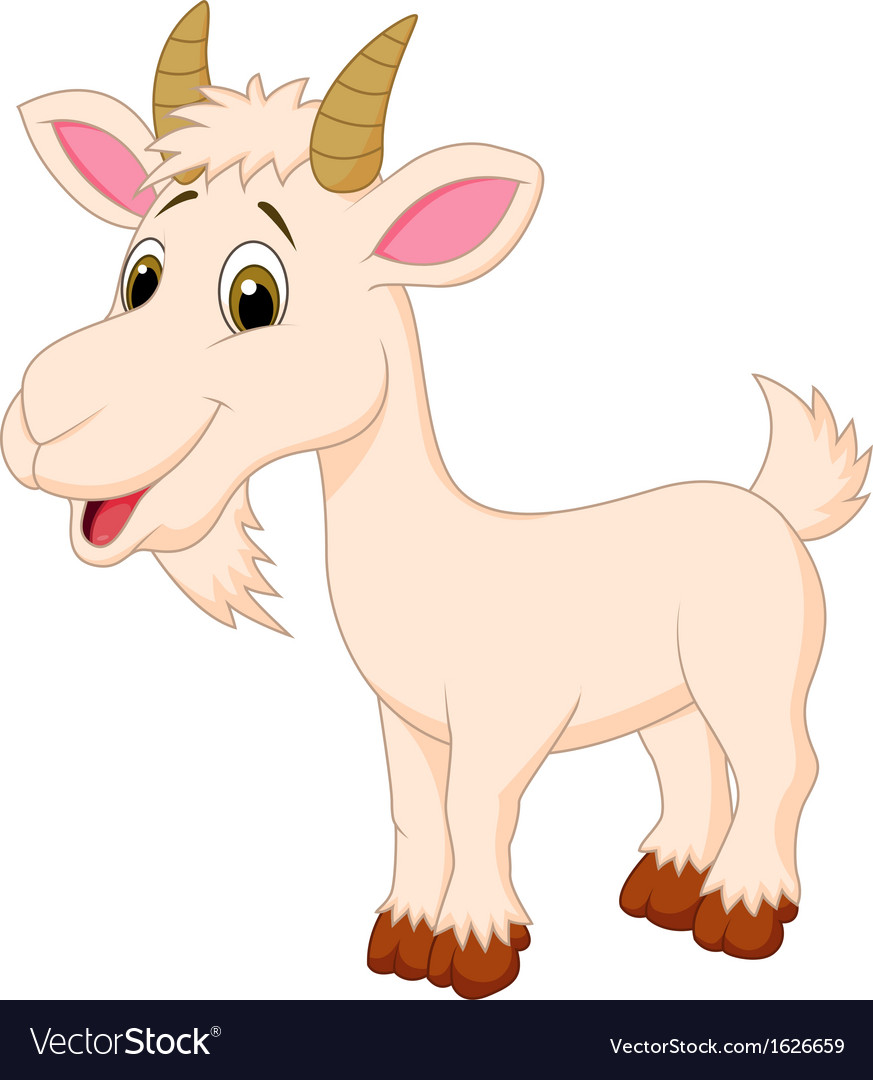 Goat cartoon character vector