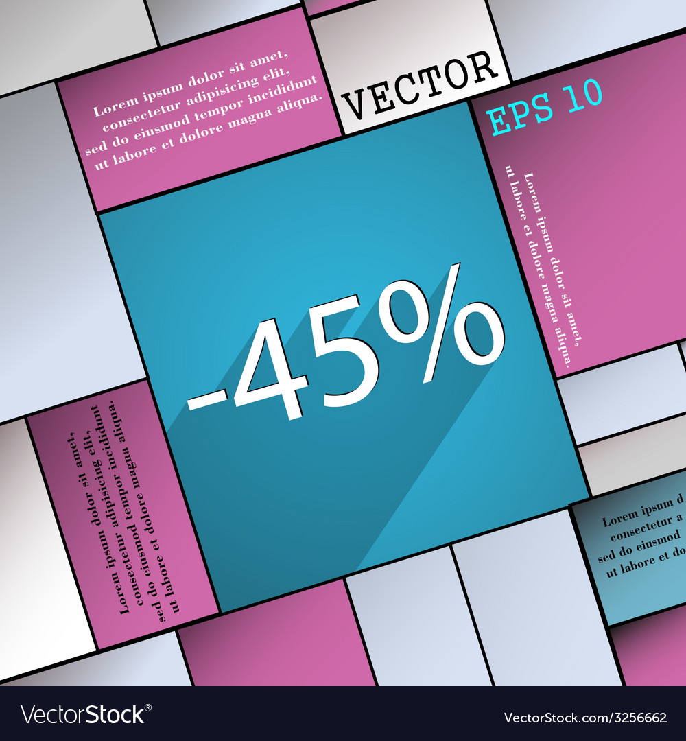 45 percent discount icon symbol flat modern web vector