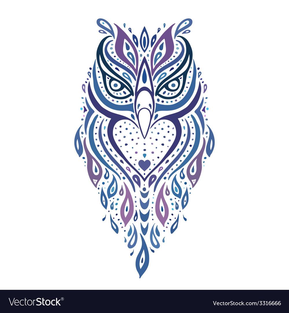 Decorative owl ethnic pattern vector