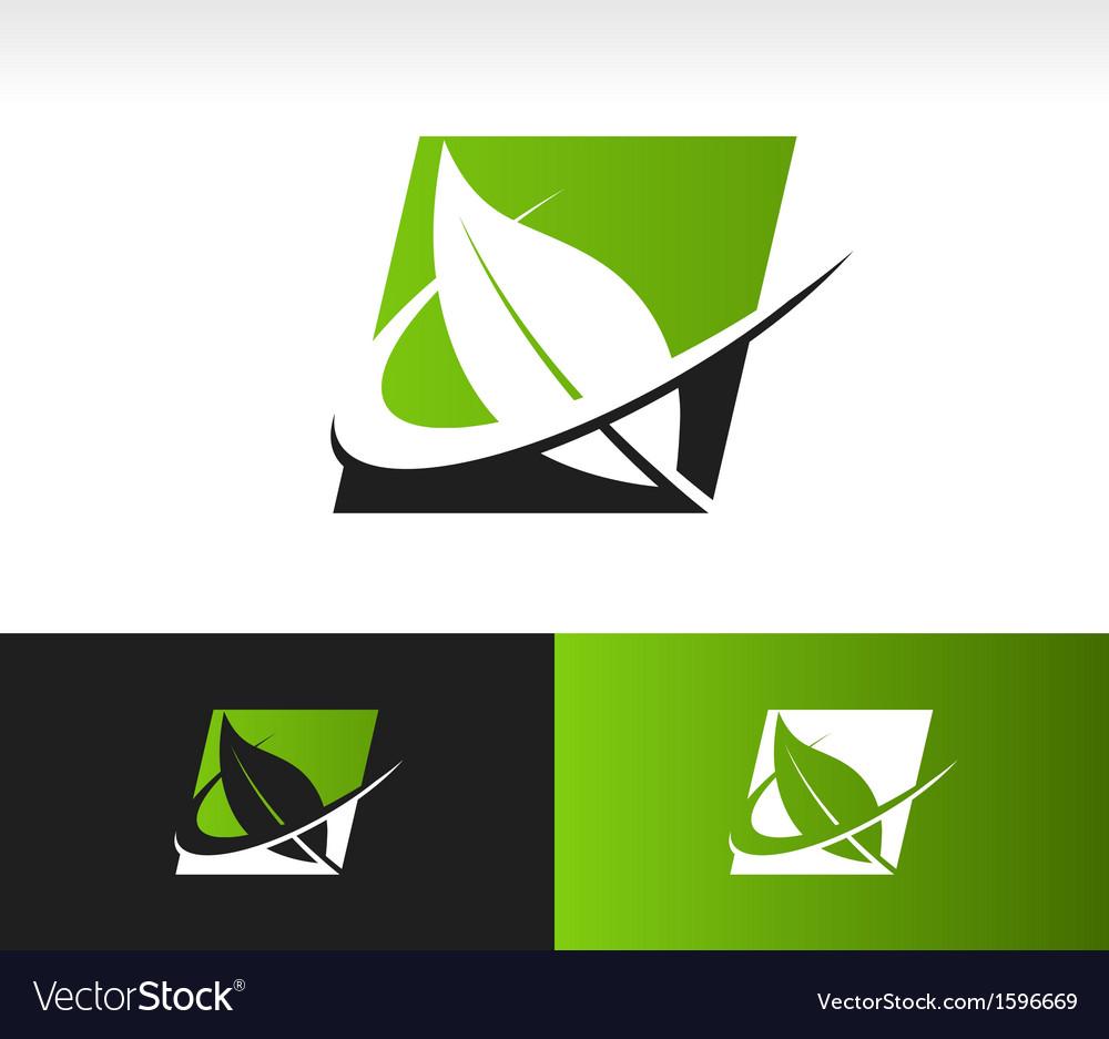Swoosh green leaf panel logo icon vector