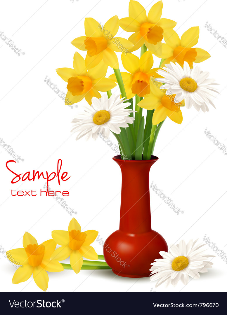 Daffodil vase background vector