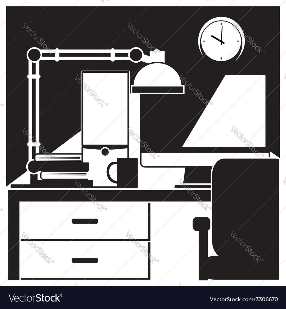 Desktop workstation black and white vector