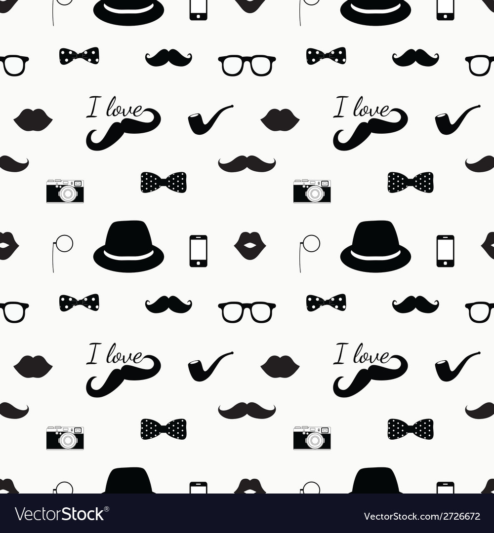 Hipster black and white seamless pattern vector