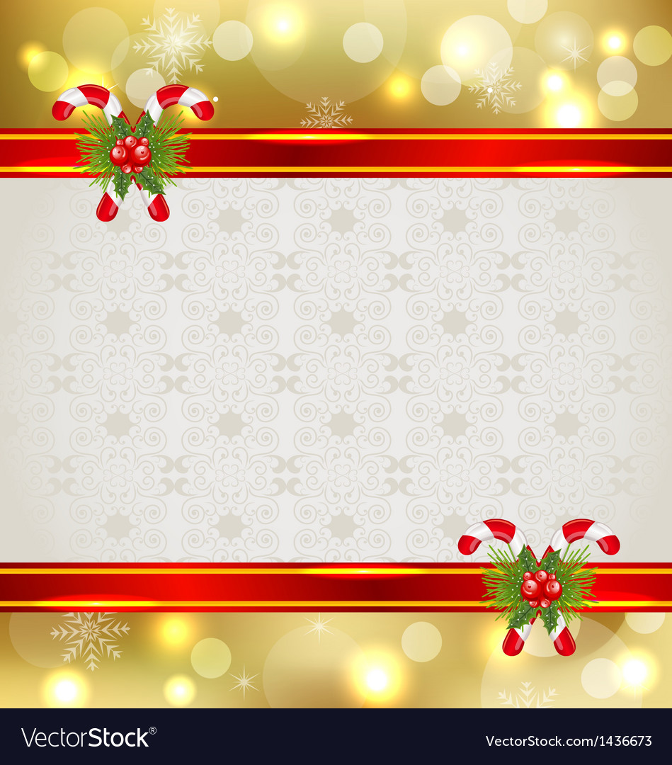 Christmas background with holiday decoration vector