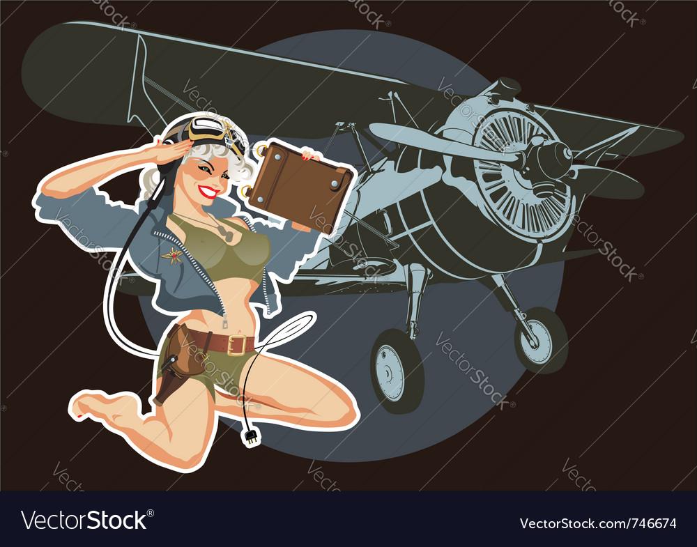 Retro military pin-up vector