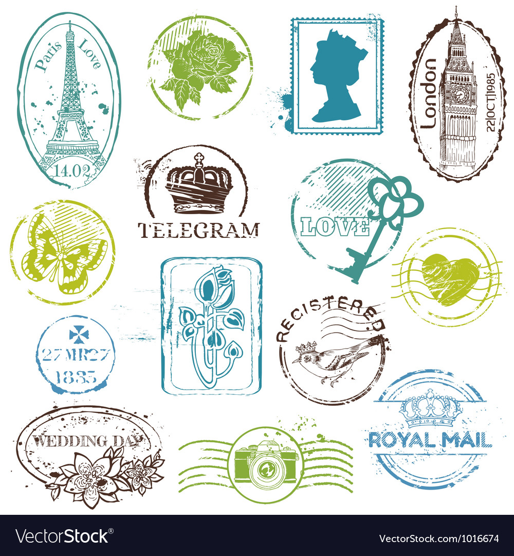 Vintage rubber stamp collection vector