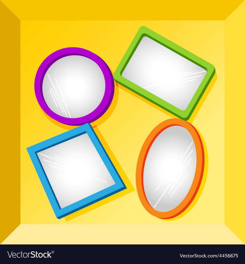 Frames or mirrors at bottom of a box vector