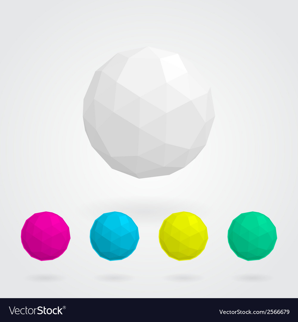 Set of abstract spheres made of geometric shapes vector