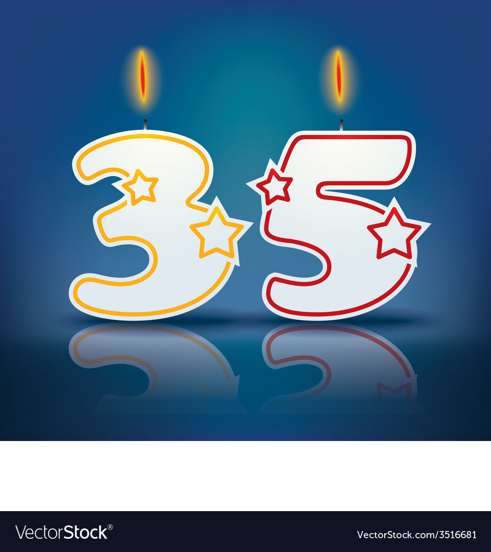 Birthday candle number 35 vector