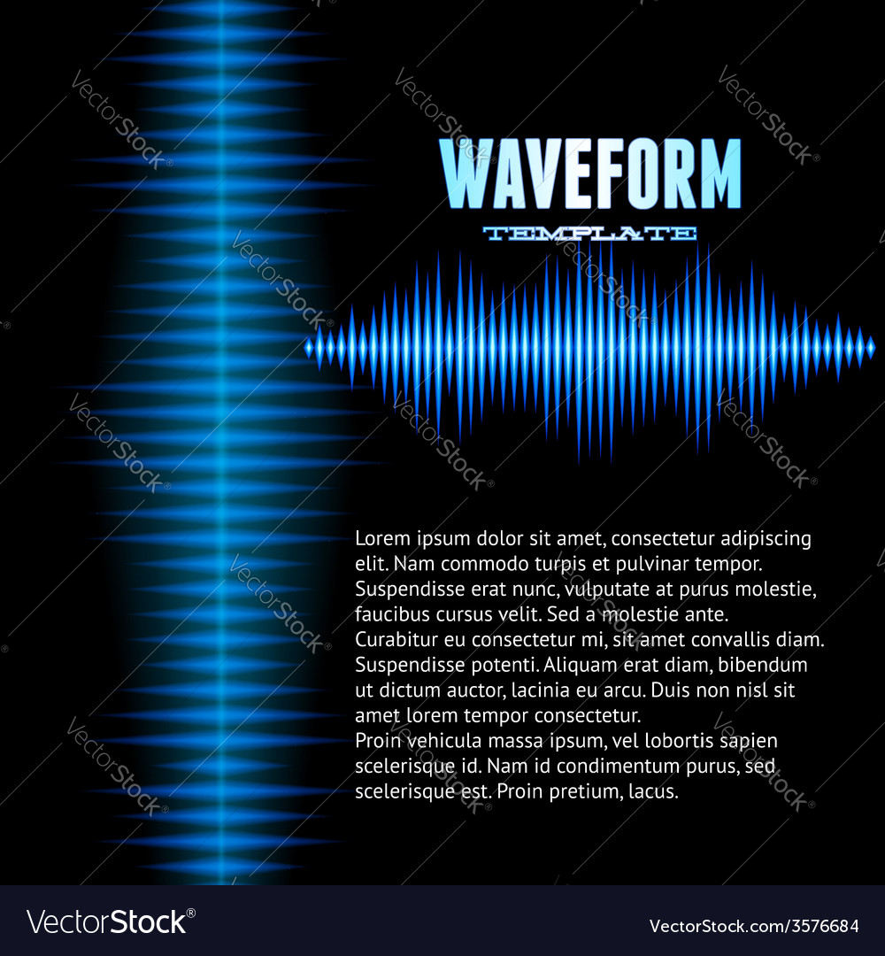 Blue shiny sound waveform background vector