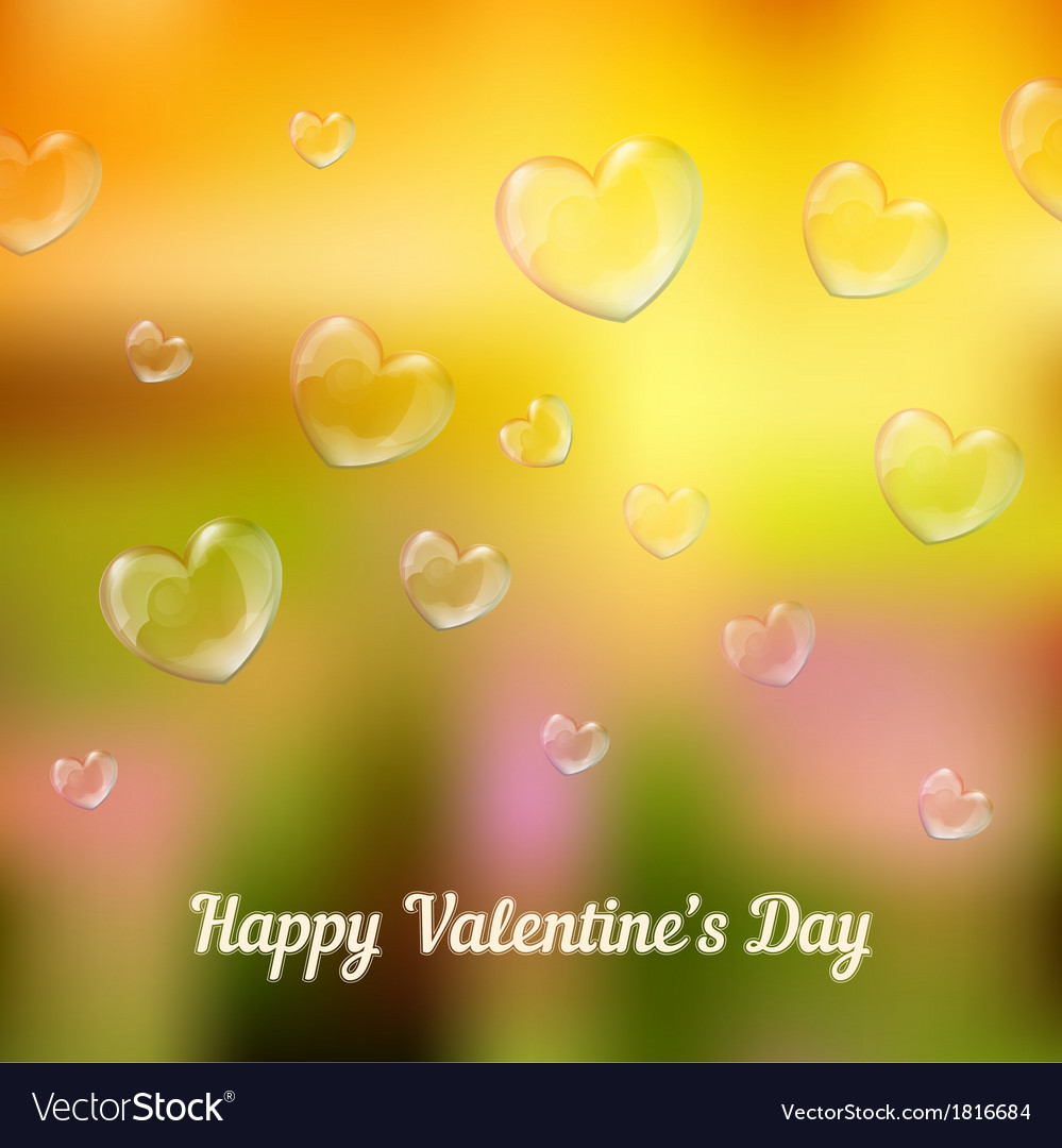 Happy valentines day heart-shaped soap bubbles vector