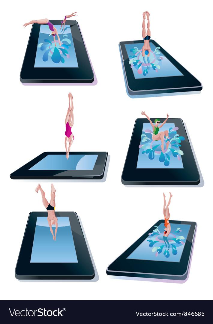 Diving into digital tablet vector
