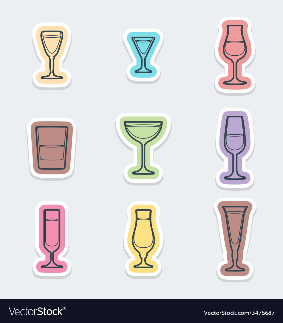 Alcohol glasses labels icons vector