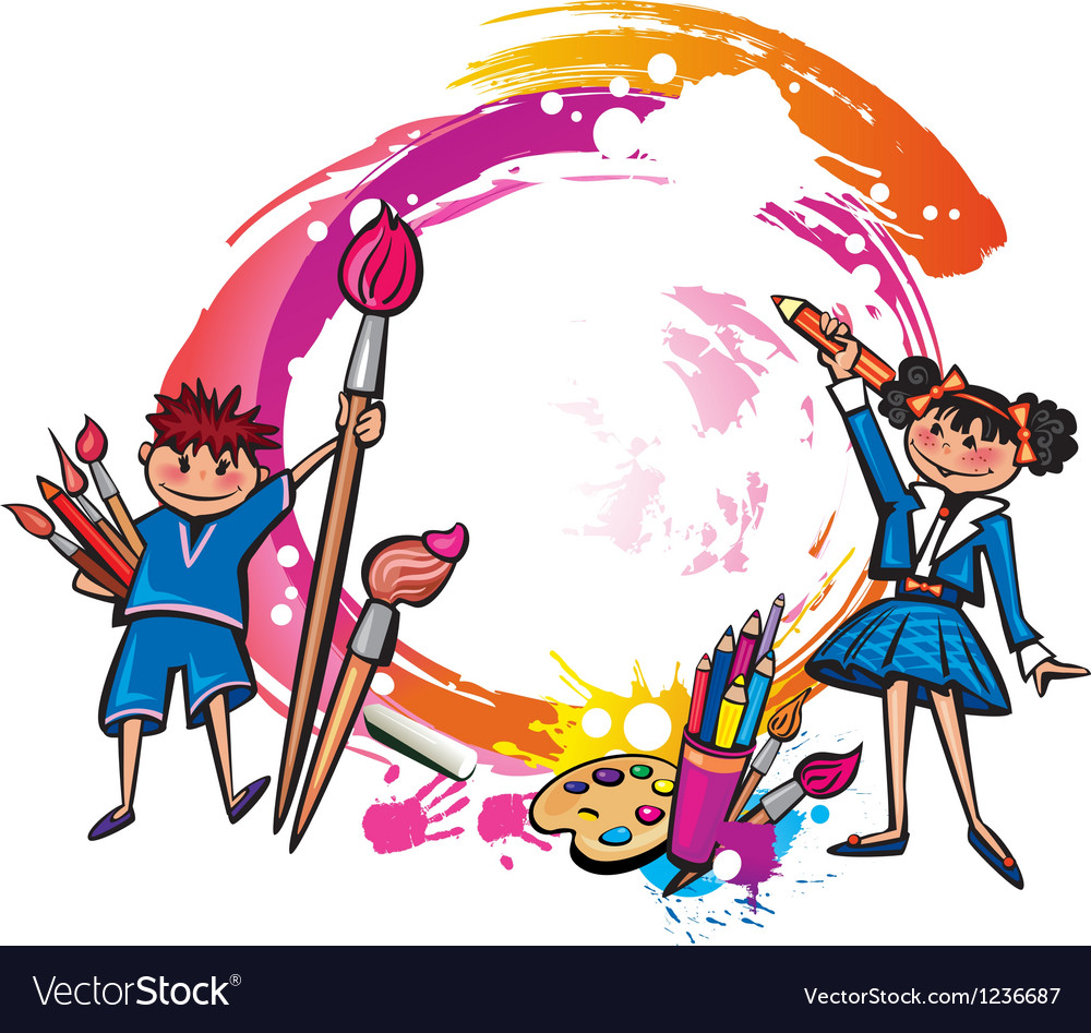 Colorful banner with children drawing vector