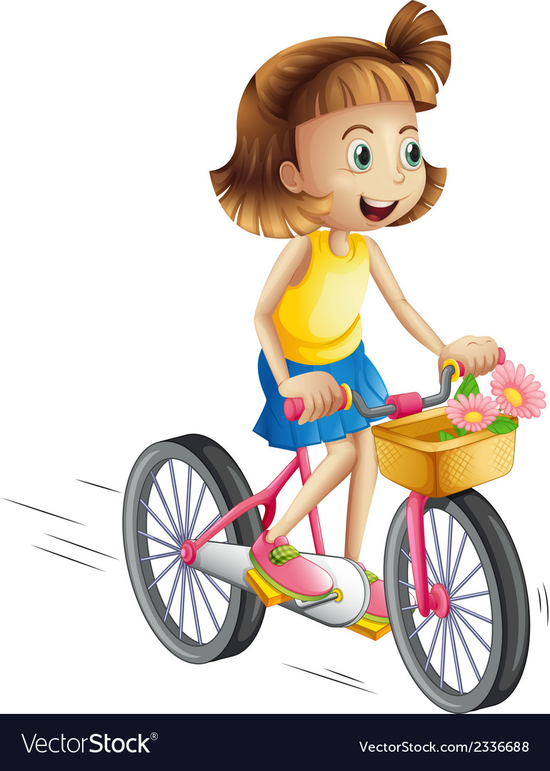 A happy girl riding a bike vector