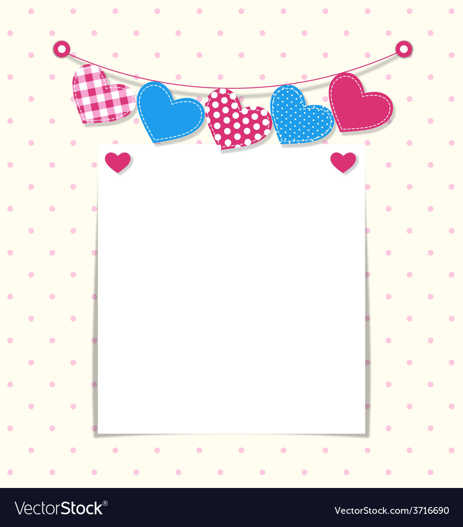 Paper frame with stitched hearts buntings garlands vector