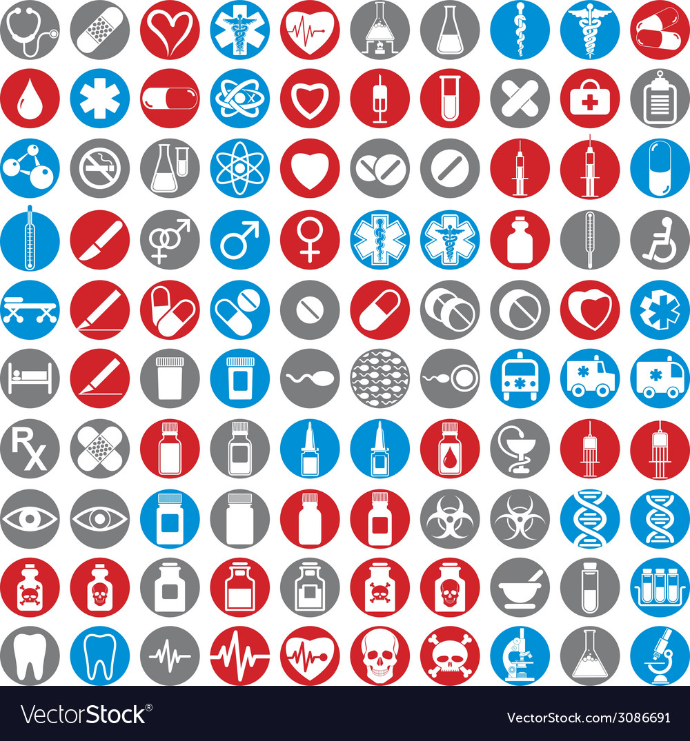 100 medical icons set vector
