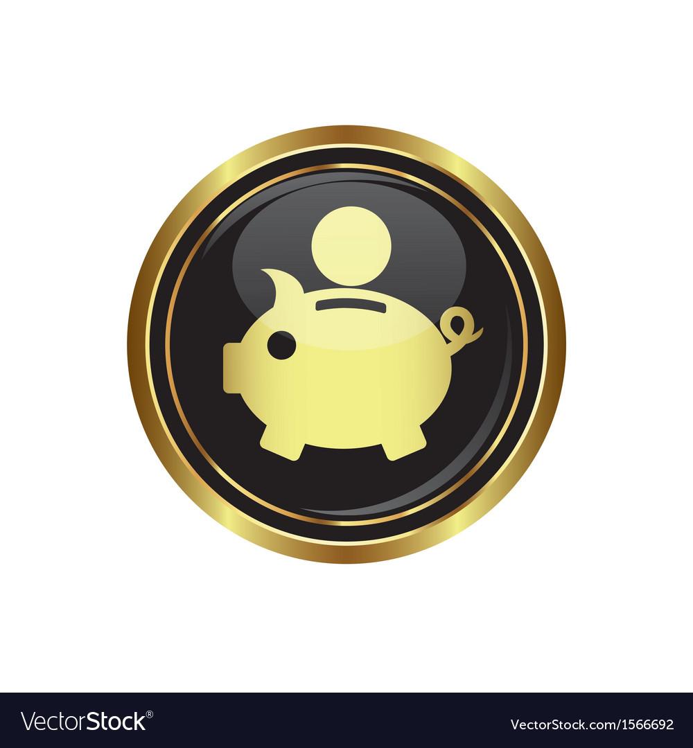 Copypig icon button gold copy vector