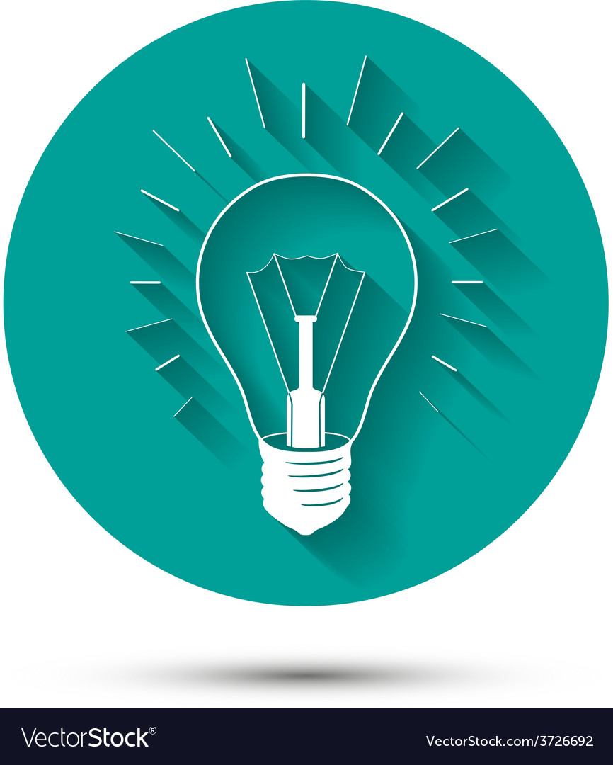 Light bulb idea icon on green background with vector