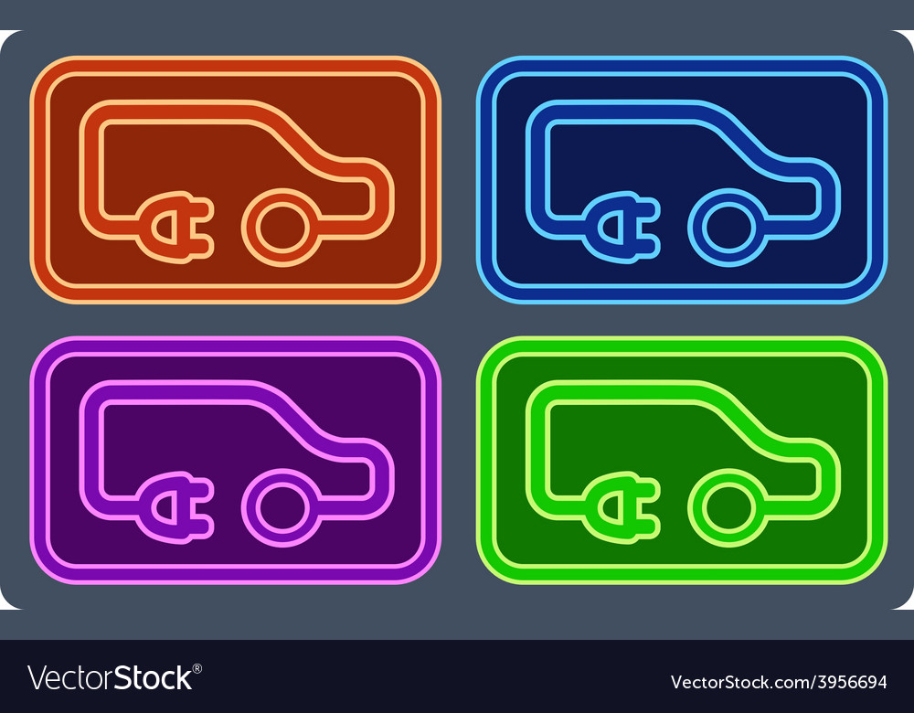 Colorful electrical vehicle set vector