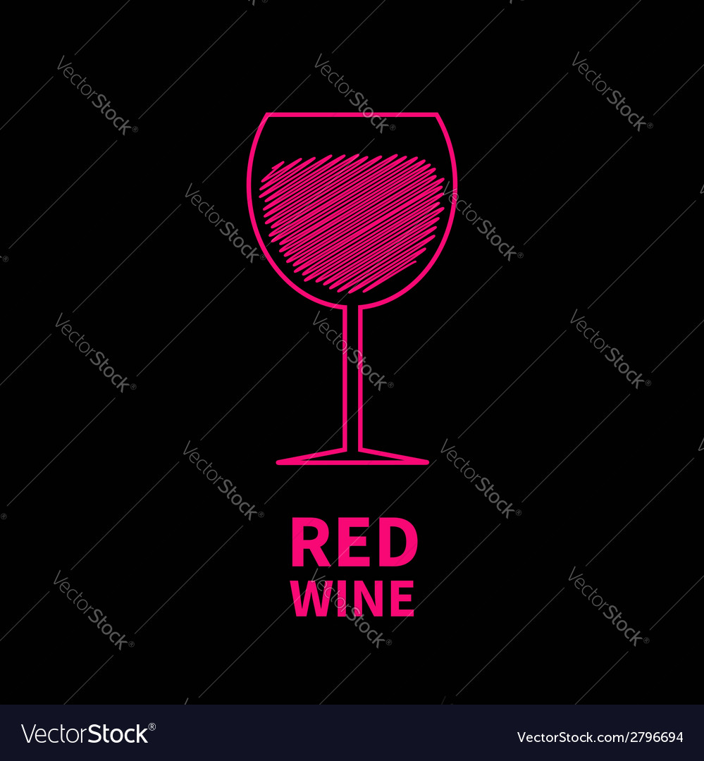 Red wine glass with scribble effect black backgrou vector