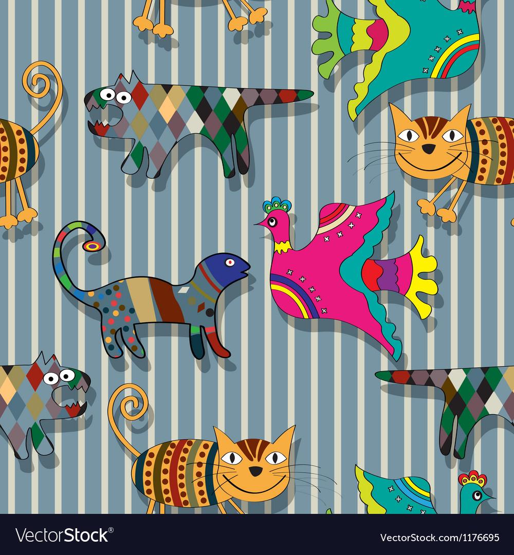 Seamless childlike drawing pattern vector